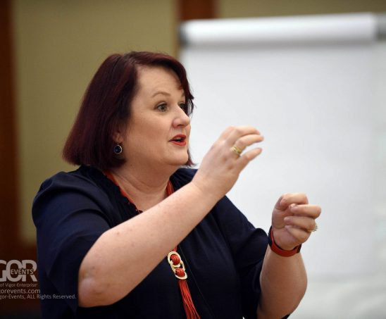 photo of Sally during speaking session
