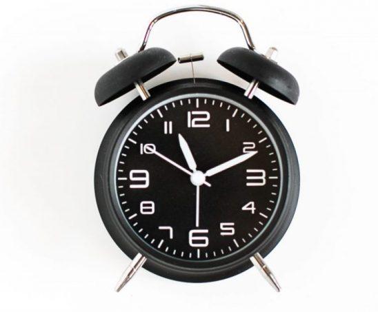 a black alarm clock